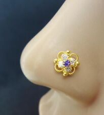 Stud Gold Nose Stud 14g Nose Pin Flower Nose Stud Indian Nose Stud Sapphire Nose