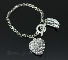 CRYSTAL LOVE HEART HIGH HEEL CHARM STERLING SILVER SP  WOMENS TOGGLE BRACELET