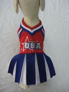 Patriotic Dog Costume Team USA Cheerleader Red White Blue Pleated Skirt Metallic