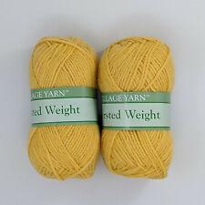 Village Yarn Worsted Weight Dark Yellow 2 Skeins 3oz 183yds Per Skein