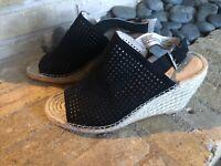 CASLON Sutton Black Suede Slingback Espadrille Wedge Heel Sandal Women Shoes 8M