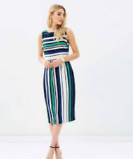 Atmos&Here Vivien Fitted Stripe Midi Dress Size 10