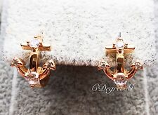 18k Rose Gold GP Sparkling Anchor Crystal Hoop Earrings Clips