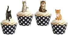 16 x  CUTE KITTEN CATS  Premium wafer Edible cake party toppers STAND UPS