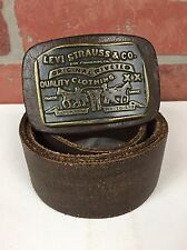 "LEVI""S Mens Brown Harness Leather Belt Large Signature Metal Cowboy Buckle Sz M"