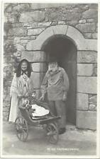 GUERNSEY COUPLE IN FANCY DRESS COSTUME - TOY DOLL & PRAM VINTAGE REAL PHOTO PC