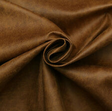 Aged Brown Distressed Antiqued Suede Faux Leather Leatherette Upholstery Fabric Saddle