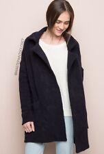 Brandy Melville Dark Navy Blue Thick Heavy Wool Kennedy Open Coat Nwt