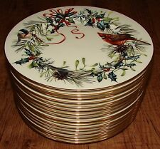 "LENOX WINTER GREETINGS SALAD PLATES 8"" RED CARDINAL 16 AVAILABLE. U CHOOSE QTY"