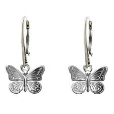 FASHIONS FOREVER® 925 Sterling Silver Butterfly Leverback Earring Handmade In UK