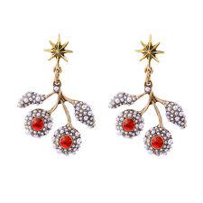 Boucles d`Oreilles Clous Doré Chandelier Branche Arbre Mini Perle Rouge  XX18