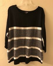 Gently Preowned a.n.a. Womens Black And White Stripped Plus Size 1X Sweater