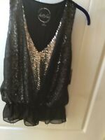 NWT INC International Concepts Layered Sleeveless  Blouse Black & Silver Size S
