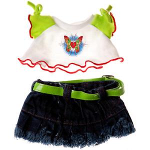 8-10 inch Denim Skirt & White Butterfly Top - teddy bear stuffed animal clothes