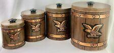 J L Clark 4 Nesting Canisters Metal Eagle Emblem Rockford Illinois   921