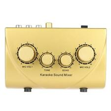 NKR N-3 Karaoke Sound Mixer Dual Mic Inputs With Cable Gold U7Z1