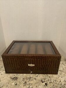 PreOwned  Prestige Jewelry/Watch Box. Faux Brown Croco-Embossed. 2 Levels.