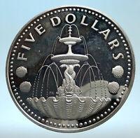 1973 BARBADOS Proof Arms Fountain Trafalgar Antique Silver 5 Dollars Coin i77500