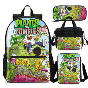 Plants vs Zombies Kids Backpack Insulated Lunch Box Sling Bags Pen Case Lot Gift