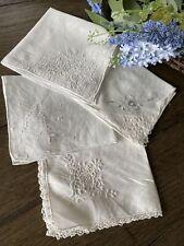 Vintage White Floral Embroidered Linen Cotton Ladies Handkerchiefs Lot 4