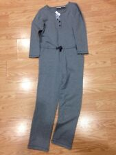 Hanna Andersson Romper Jumpsuit Gray Terry Winter Cozy Girls 130 New