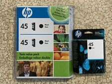 3 Genuine HP 45 Black Ink Cartridges - 2 - expired 2011, 1 expired 2016