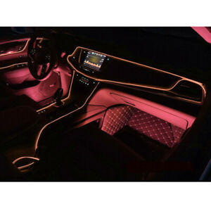 Pink LED 2M Car Interior Decor Atmosphere Lamp Cold Light Strip Wire Accessories