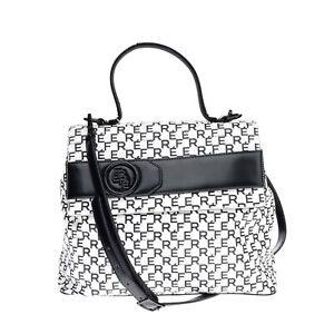 RRP €130 FERRE' COLLEZIONI Satchel Bag Textured PU Leather Logo Print Top Handle