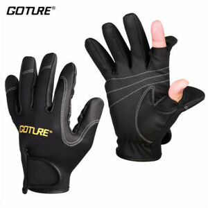 Goture 2 Cut Finger Fishing Gloves Anti-slip Hiking Sport Gloves Black Size L