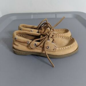 Sperry Top Sider Two-Eye Toddler Boys Size 9M Leather Brown Casual Boat Shoes