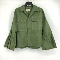 Current/Elliott Women's Size 1 Bell Sleeve The Ruffle Military Jacket Army Green