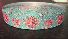 "1m Rosa Blu Shabby Chic Ditsy Stampa Floreale 7/8"" GROS Grain Nastro"