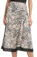 DKNY Womens A-Line Skirt Black Multi Size 16 Draped Mixed Print Midi $79- 176