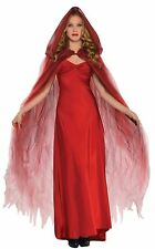 Womens Ladies Red Hooded Ghost Cape Cloak Halloween Fancy Dress Accessory