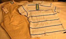 Nwt Gymboree 2 pc Set Blue Striped Polo & Khaki Pant Boys Sz 6 School Uniform