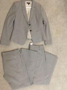 6P Petite Ann Taylor gray suit - blazer and 2 matching suit pants