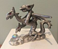 Spoontiques Pewter 3 Headed Dragon,red eyes Holding Crystal Ball Cmr859,vtg1987