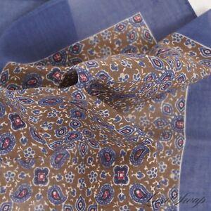 NWT Brooks Brothers Ocean Blue Khaki Batik Floral Voile Cotton Pocket Square NR