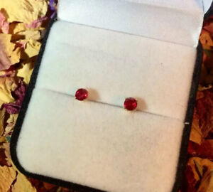 Top Quality genuine natural Blood Red Ruby 4mm yellow gold stud earrings 🌹
