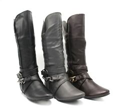 50% OFF NEW WOMENS BOOTS SAMLIZ FLAT COMFORT BLACK, BROWN, GRAY ZIP UP MID CALF