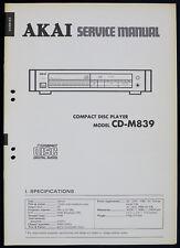 AKAI Model CD-M839 Original CD-Player Service-Manual/Diagram/Parts List o171