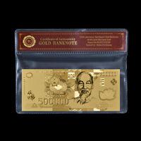 WR Vietnam 500,000 Dong Gold Foil Banknote New 500000 Vietnamese /w COA