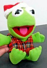"Vintage 1987 Baby Kermit the Frog Christmas Plush Doll Jim Henson Muppets 7"""