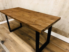 Reclaimed Dining Table Solid Wood Black Timber Square Frame Legs