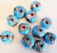 Handmade Lamp-work Glass Beads - ~17mm Widest - 50gms - Bejewelled Turquoise