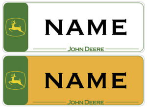 John Deere Vinyl Stickers, 2 Number Plates Childs Ride On Toy Tractors and Cars