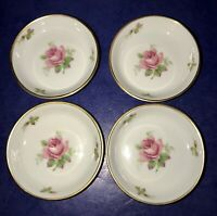 LOVELY SET OF 4 ROSENTHAL GERMANY PINK ROSES WITH GOLD TRIM BUTTER PATS