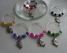 Witch Wine Glass Charms Multi x 6 + Gift Bag Harry Potter Theme
