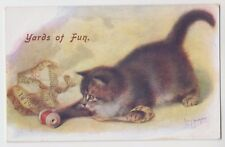 "POSTCARD - artist signed C T Howard ""Yards of Fun"" cat kitten, cotton thread"