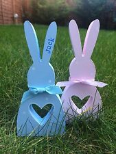 Personalised Easter Bunny Rabbit New Baby Present Gift Chic Wooden Chic